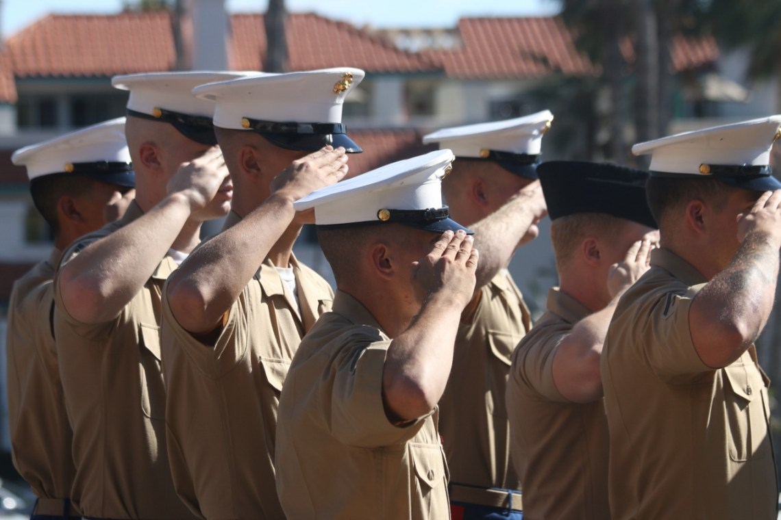 Members of the U.S. Marines and Navy salute as the all-service medley is performed.