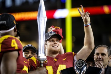 Sam Darnold led the USC football team to a Pac-12 Championship over Stanford on Dec. 1. The No. 8 Trojans will play No. 5 Ohio State in the Cotton Bowl. Photo: John McGillen/USC Athletics
