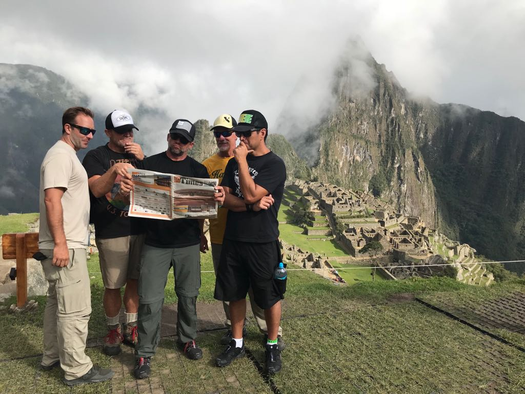 Dana Outrigger Canoe Club members took the San Clemente Times with them to Machu Picchu. Photo