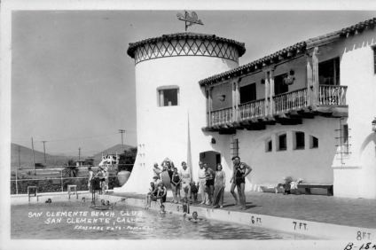 The weathervane on top of the Ole Hanson Beach Club in this photo circa 1940s is to be replaced by the San Clemente Historical Society. A replica weathervane was placed on top of the club in October. Photo: Courtesy of the city of San Clemente