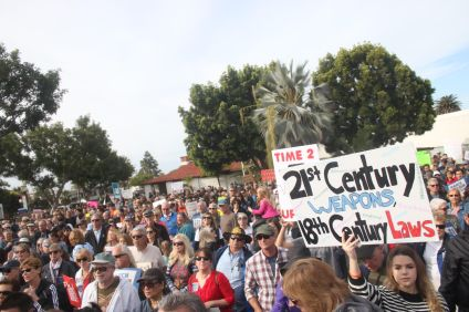 "Hundreds of people attended the San Clemente ""March for Our Lives"" on Saturday, March 24 at the San Clemente Library. Photo: Eric Heinz"