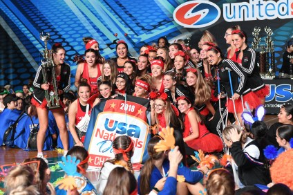 SCHS Dance Team broke a school record for the highest score for a Novelty dance at USA Nationals on Saturday in the Anaheim Convention Center. The whole team accepted the trophy and banner in front of a packed arena. Photo: James Chriss