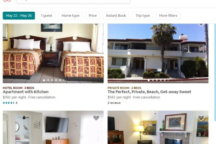 Websites such as Airbnb feature many short-term rental units available in San Clemente, located within residential neighborhoods. Photo: Screen grab from Airbnb on May 16