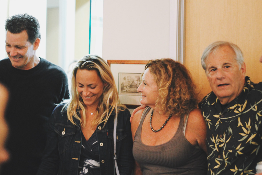 Lisa Andersen, second from left, and Jericho Poppler, stand next to each other during an opening reception of the Surfing Heritage and Culture Center's new exhibit, 'Women Making Waves' on Saturday, June 2. Photo: Courtesy of Madeline Javier