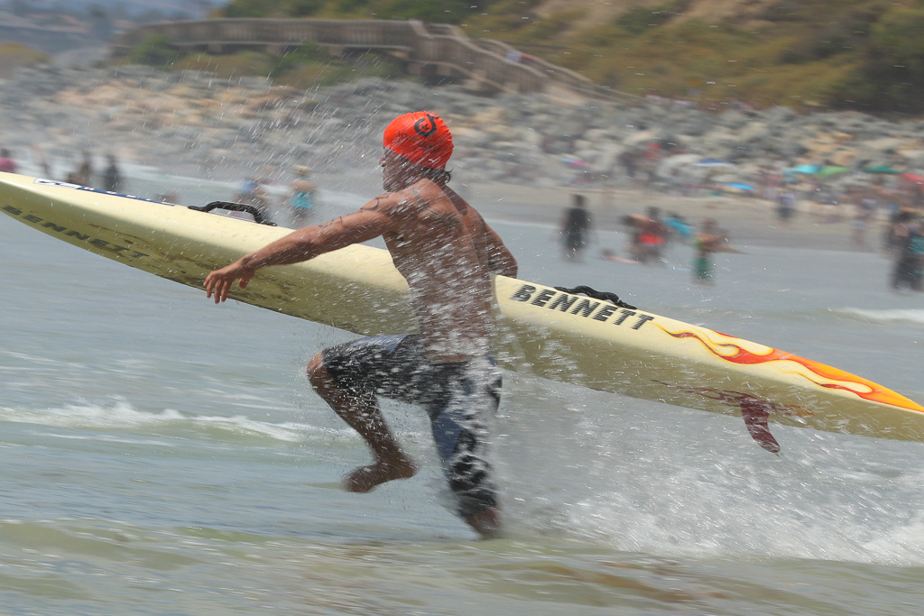 Surf ski races are always difficult, given the shape of the vessel. With 3- to 4-foot waves in both men's and women's heats, athletes had to judge the surf just right on July 21 at the San Clemente Ocean Festival. Photo: Eric Heinz