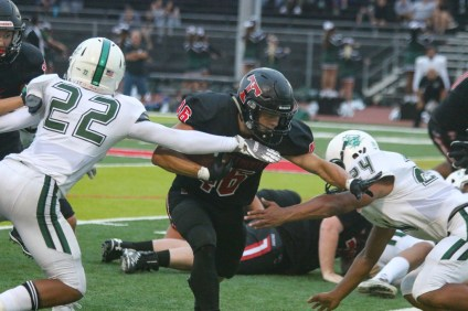 RJ Donaldson ran for 139 yards and three touchdowns as San Clemente defeated Oceanside, 34-19, in a nonleague game at San Clemente High School on Aug. 17, 2018. Photo: Eric Heinz