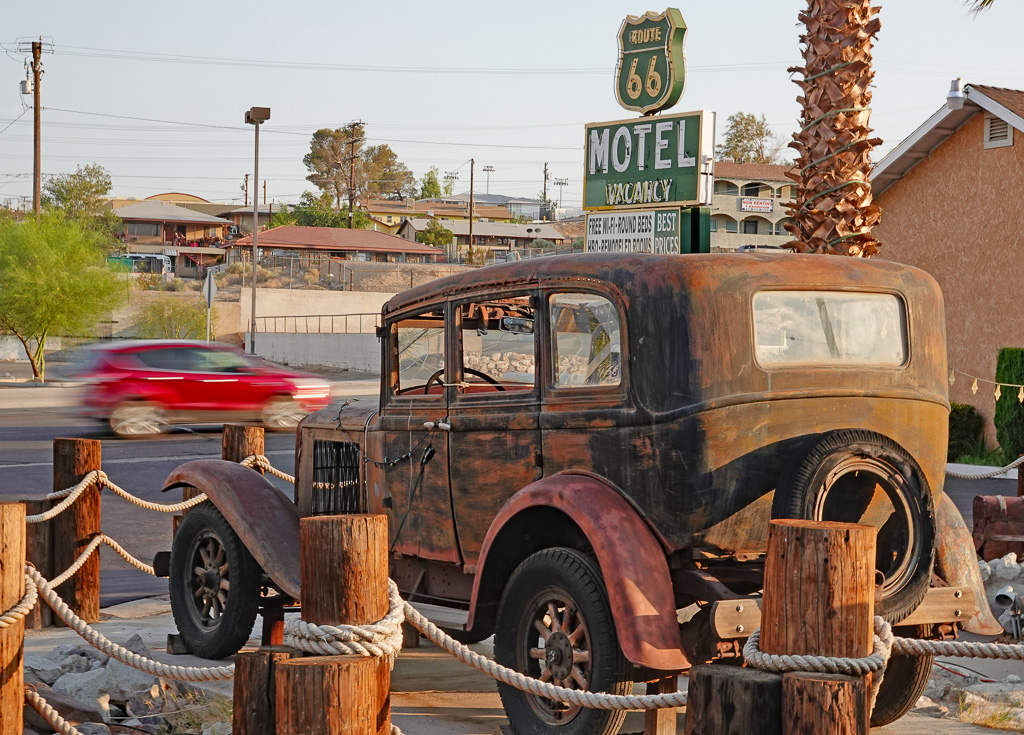 Several of Barstow's older, vintage motels along Route 66 are decorated with themes of the historic highway's pre-freeways heyday. Photo: Fred Swegles