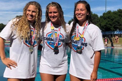 San Clemente natives Caroline Christl, Mara Loughlin and Savannah Burns won gold medals as the SET Water Polo Club girls 16U won the Platinum Division of the USA Water Polo Junior Olympics on Sunday, July 29. Photo: Courtesy