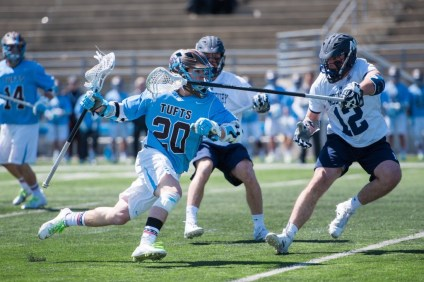 Tufts University sophomore midfielder Nick Shanks (20) was named a United States Intercollegiate Lacrosse Association Division 3 First-Team All-American. Shanks grew up playing sports in Dana Point, San Clemente and San Juan Capistrano. Photo: Courtesy