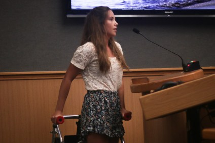 Leila Murray asked the City Council on Tuesday, Aug. 21, to consider installing beach access mats to at least one of the city's beaches for people living with disabilities. The mats are intended to assist people using mobility devices to get down to the sand. Photo: Eric Heinz