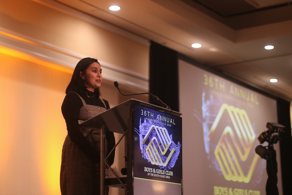 Karmen Canizales, the 2018 Boys & Girls Club of the South Coast Area Youth of the Year, speaks at the Great Futures Gala on Oct. 20. Photo: Eric Heinz