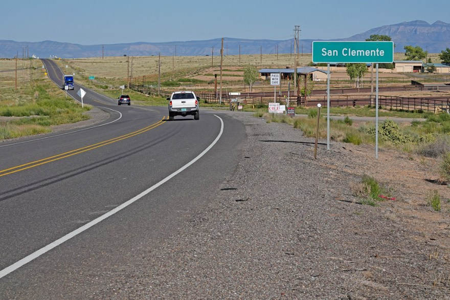 Meet San Clemente, New Mexico, along Highway 6, which once was a segment of Historic U.S. Route 66. Photo: Fred Swegles