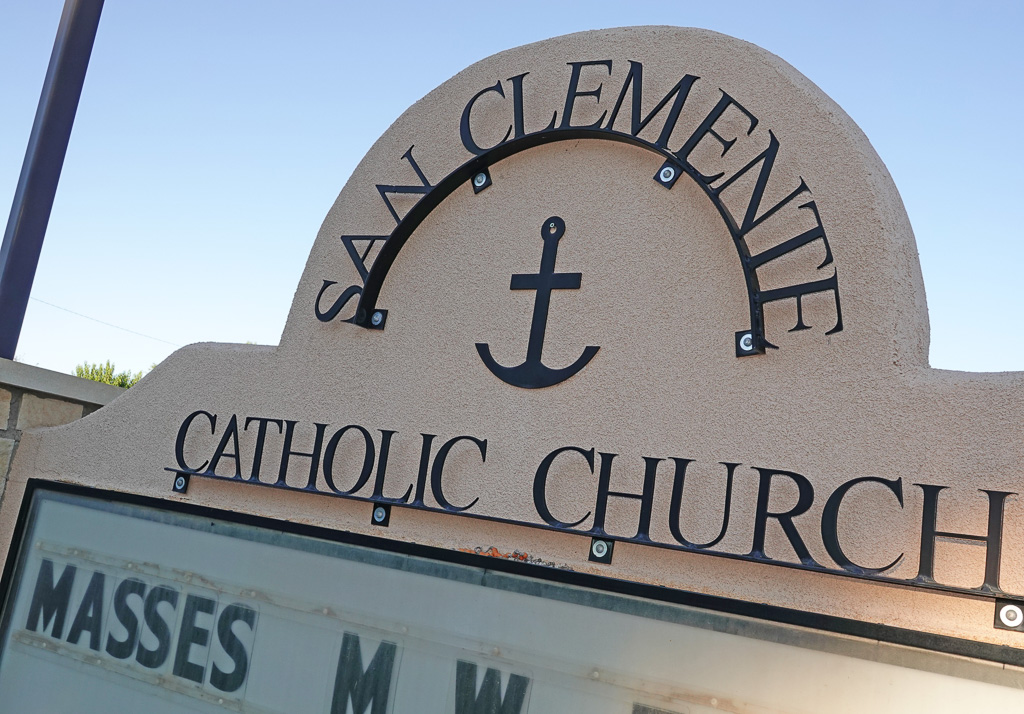 An anchor, symbolizing the Catholic martyr Saint Clement, is displayed outside San Clemente Catholic Church in Los Lunas, New Mexico. Photo: Fred Swegles
