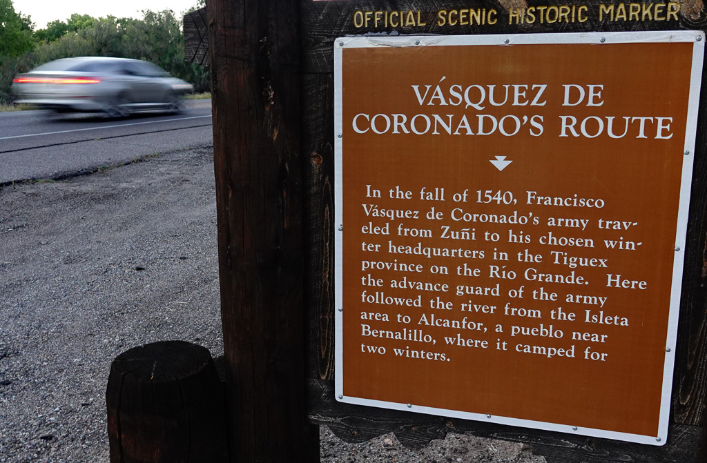 A highway marker notes the historic 1540 arrival of Spanish explorers in the region of indigenous communities that became New Mexico. Photo: Fred Swegles