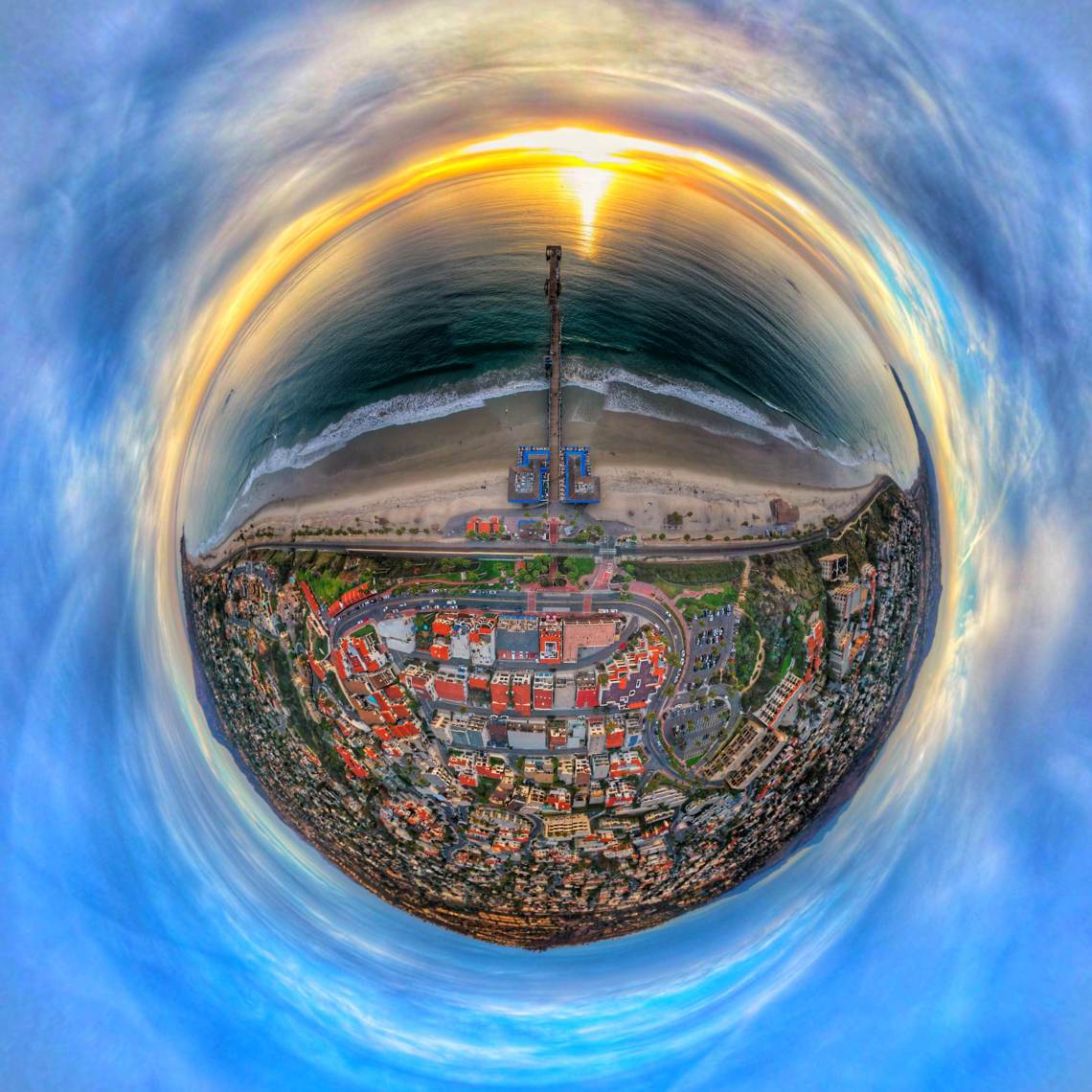 Tom Prince, on Instagram as @360prince, uses several wide-angle images to bend reality in his psychedelic images. Photos: Courtesy of Tom Prince