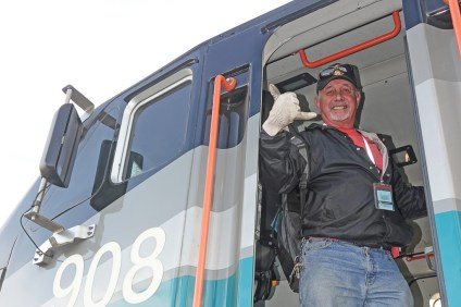 After operating his Metrolink train from the cab car and being pushed to Oceanside by the locomotive, Engineer George Thomas switches to operating the train northbound from the locomotive, pulling the train back to San Clemente and beyond. Photo: Fred Swegles