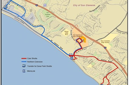 The proposed map of a new trolley program shows a route that would allow passengers to depart at Camino Estrella on the Dana Point border and connect to their routes. Photo: Courtesy of the city of San Clemente