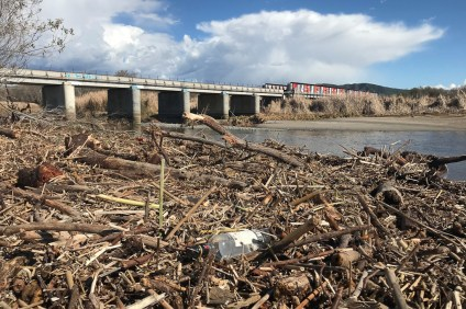 A view of some debris that has flowed from the San Mateo Creek, as seen on Monday, Feb. 18. Photo: Jake Howard