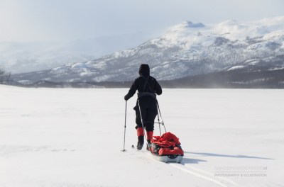 Crosscountry skier with pulka in the snow in Sweden.