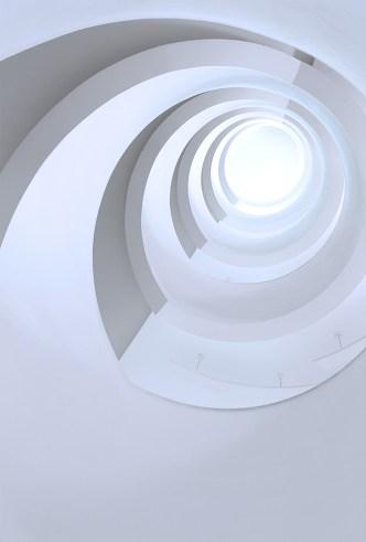 Spiral staircase at Bibliothèque Universitaire de Chevreul in Lyon 2 Lumière.