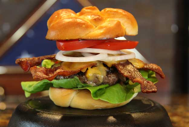 Jason Stucki's Bacon Cheese Burger on a Challah Bun