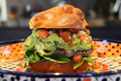 Jason Stucki's Guacamole Burger with Roasted Jalapenos, Queso Oaxaca and Pico de Gallo