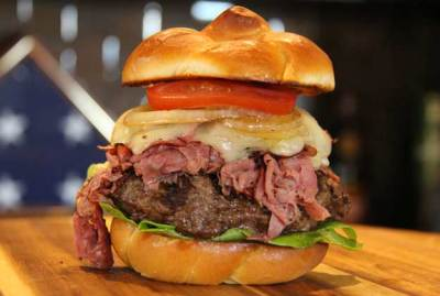 World Burger Champ - Jason Stucki - Burger Topped with Pastrami, Swiss Cheese, and Smoked Onions