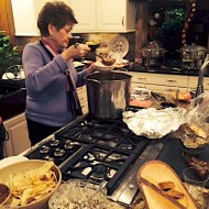 My Aunt Sue tasting the soup right before dishing it up.