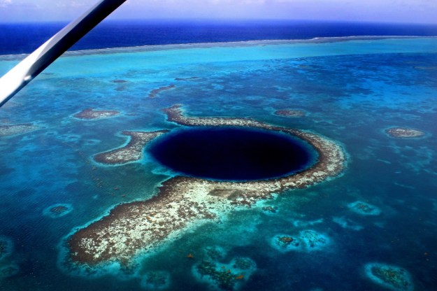 Belize's Blue Hole - sink hole surrounded by coral - from Tropic Air