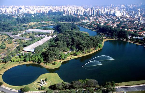 Vista aérea do Parque do Ibirapuera, em São Paulo