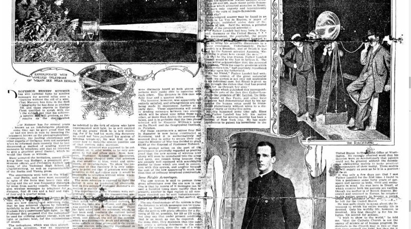 Página dupla do jornal norte-americado New York Herald onde o padre figura com destaque, 1902