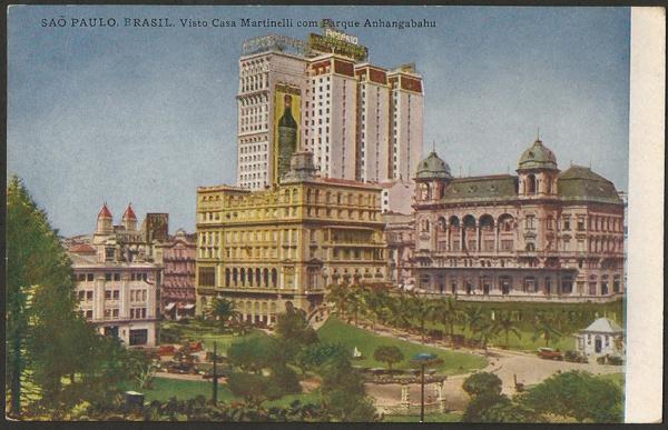 Postal com destaque para o Martinelli e um dos Palacetes Prattes
