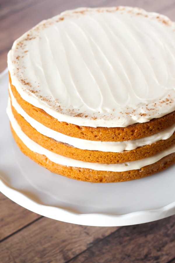 Vegan Pumpkin Cake With Cream Cheese Frosting
