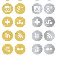 Free Social Media Icons | Gold & Silver