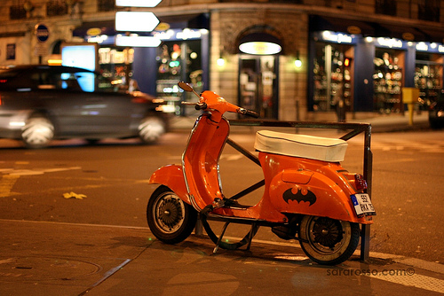 Batmobile Orange Vespa in Paris, France