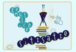 """Schriftzug """"gemütliche Sitzsätze"""" mit Illustration: ein Mädchen, das auf einem Bücherstapel Handstand macht"""