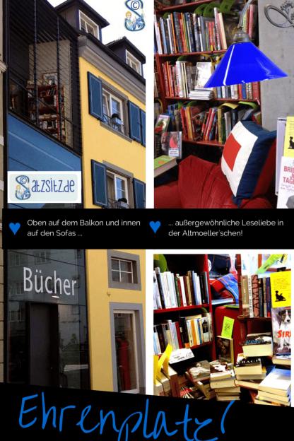 Collage von das A&O aus der Altmoellerschen Buchhandlung: Balkon und Lesesofa