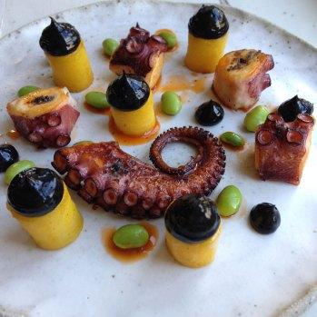 Grilled octopus, confit potato, black garlic aioli, edamame bean, smoked paprika, olive oil