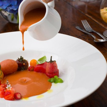 Tomato and strawberry gazpacho, heirloom tomato, tomato sorbet, coriander, basil