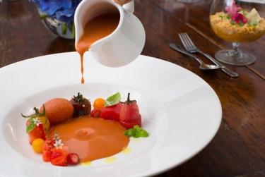Tomato and strawberry gazpacho, heirloom tomato, tomato sorbet, coriander, basil
