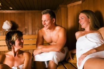 family naked in sauna