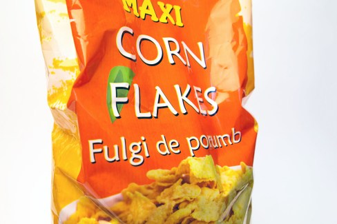 corn flakes close up packaging