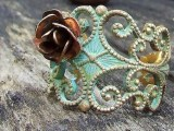 Giveaway: Antiqued Brass Bronze Filigree Verdigris Ring with a Tiny Copper Rose