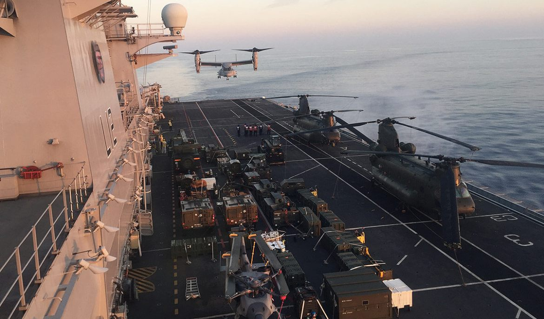 HMS Ocean with V22 Osprey
