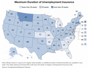 maximum number of weeks of unemployment insurance benefits available in each state.