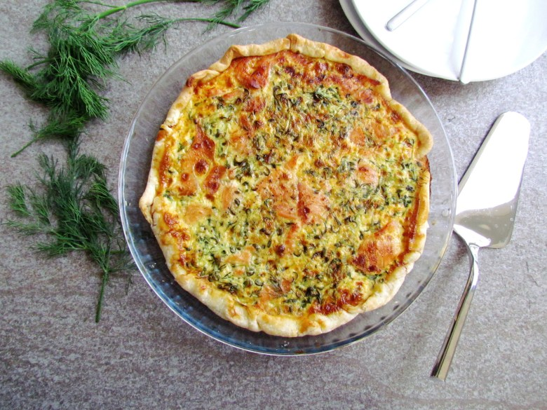 smoked salmon and watercress quiche