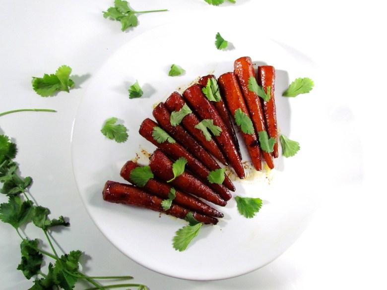 mini-carottes laquées au miel et sauce soja