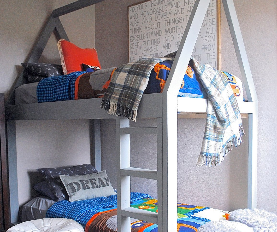Simple DIY House-Shaped Kids Bunk Bed to Make This Weekend