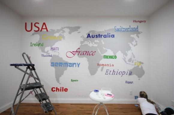World Map Wall Subway Art