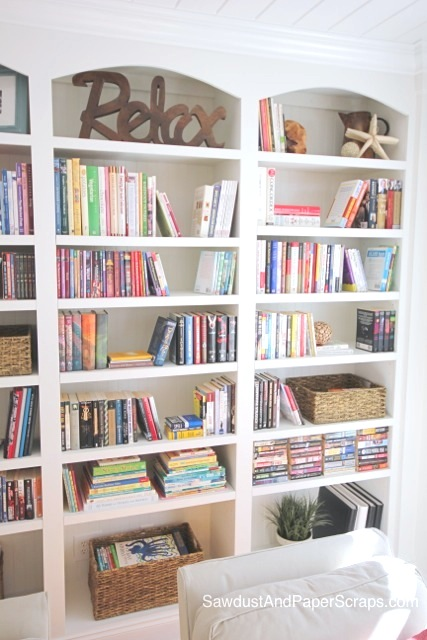 Library with White Built-In Bookshelves